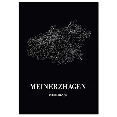 JUNIWORDS Stadtposter, Meinerzhagen, Wähle eine Größe, 60 x 90 cm, Poster, Schrift A, Schwarz