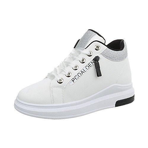 Ital-Design Sneakers Low Damen-Schuhe Keilabsatz/Wedge Schnürsenkel Freizeitschuhe Weiß, Gr 37, Kb-075-