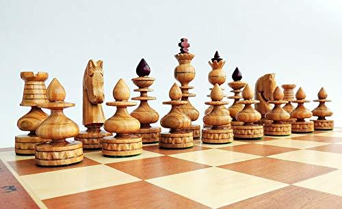 Juego de ajedrez de madera con incrustaciones de lujo BIZANT 59cm   23in, BYZANTIUM, juego de ajedrez clásico hecho a mano con piezas de ajedrez de cereza