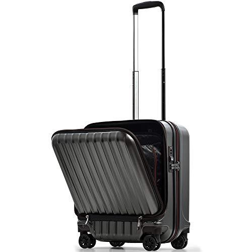【JP-Design】スーツケース 機内持込 軽量 フロントオープン ダブルキャスター 8輪 【W-Receipt】 ハードキャリー ダブルファスナータイプ キャリーケース キャリーバッグ 前ポケット (S-40L-エンボス/ガンメタリック)