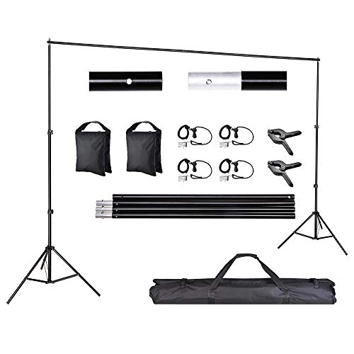AW Backdrop Stand Kit 7 x 10ft Adjustable Background Support System Stand Kit 2 Spring & 4 Clips Carry Bag for Live Stream Party Event