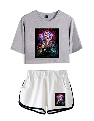 Conjunto Mujer Top y Pantalones Cortos Stranger Things, Conjunto Deportivo Camiseta y Pantalón Stranger Things Chica, Chándal para Niñas y Mujers