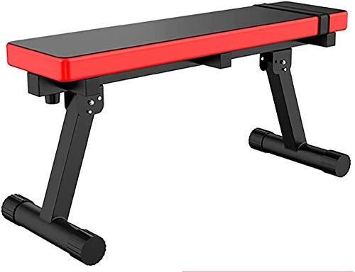 Suge Verstellbare Hantelbank Faltbare Flach Sit-up Brett, Zwei in Einer Mehrzweck- Bauchmuskeltraining Hantel Bank Heim Fitnessstudio Essentials-Gerät (Color : Red, Size : B)