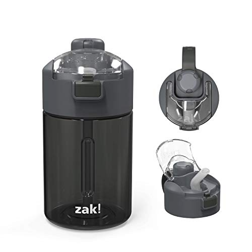 Zak Designs Genesis Durable Tritan Water Bottle with 2-In-1 Lid and Portable Carry Strap, Leak-Proof Design Is Perfect for Outdoor Sports (12oz, Charcoal, Tritan, BPA-Free)