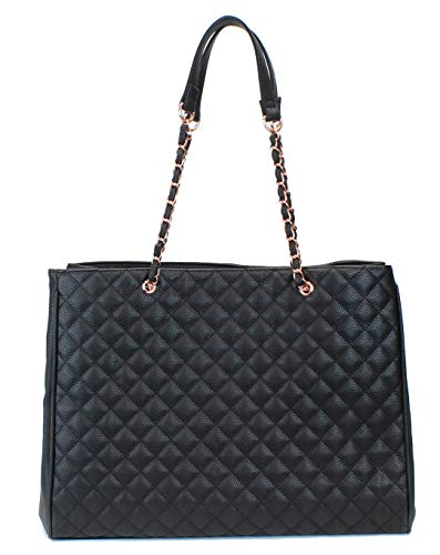 Women's Large Travel Tote Quilted Purse and Work Laptop Handbag - Rose Gold Hardware With Satin Interior - Black