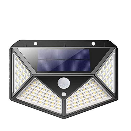 Ibello - Luz solar exterior de 100 LED, lámpara solar con sensor de movimiento, 3 modos de funcionamiento, energía solar para jardín y pared