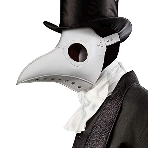 Plague Doctor Costume Mask Faux PU Leather Bird Beak Steampunk Halloween Cosplay Party Props (Deluxe White)