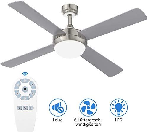 YUNLIGHTS Lighting Deckenventilator, 52 inch Deckenventilator mit Beleuchtung und Fernbedienung, 6 Geschwindigkeiten Reversible Rotation Deckenventilator mit Beleuchtun