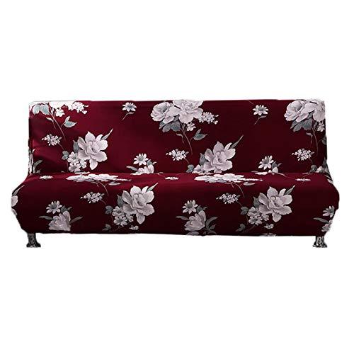 adfafw Funda elástica para sofá sin brazos, funda para sofá cama, funda antideslizante de licra jacquard para futón, funda plegable completa (almohada no incluida).
