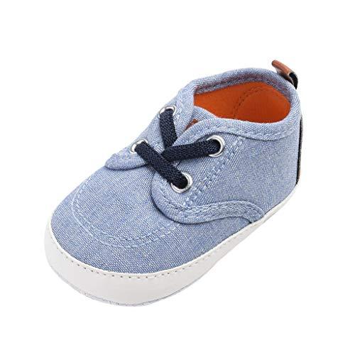 Deloito Krabbelschuhe Leinwand Nähen Schnüren Babyschuhe Kinder Jungen Mädchen Atmungsaktiv rutschfest Sneaker Kleinkind Mode Wanderschuhe (Blau,19 EU)