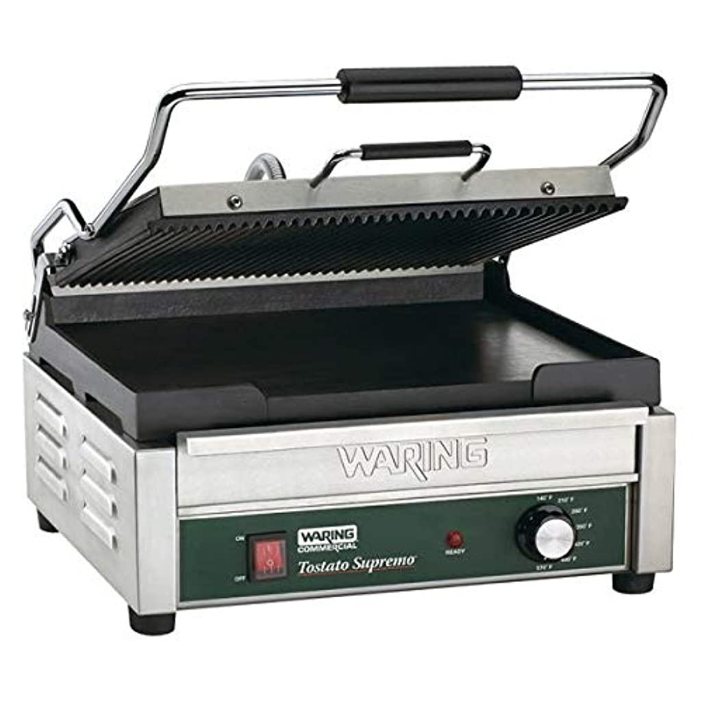 TableTop King WDG250 Grooved Top & Smooth Bottom Panini Sandwich Grill - 14 1/2