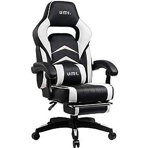 Amazon Brand - Umi Gaming Stuhl, Bürostuhl mit Fußstütze und Lendenkissen, höhenverstellbare Schreibtischstuhl, drehbar, ergonomisch, 90-135° Neigungswinkel, bis 150kg belastbar, schwarz-weiß
