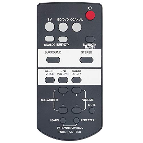 New FSR66 ZJ78750 Replacement Remote Control fit for Yamaha Front Surround System YAS-103 YAS-93 ATS-1030 YAS103 YAS93 ATS1030 YAS-203 YAS-105 YAS-101 YAS-152 SRT-700 ATS-1050 ATS-1050BL ATS-1050-R