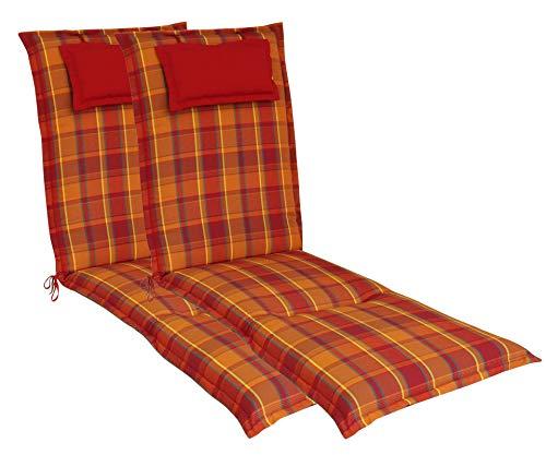 elGiga Relax-Auflage 2-Stück Classic Rot Orange kariert 170 x 50 x 8 cm für Relaxsessel, mit Kopfpolster, hochwertig, waschbar und pflegeleicht