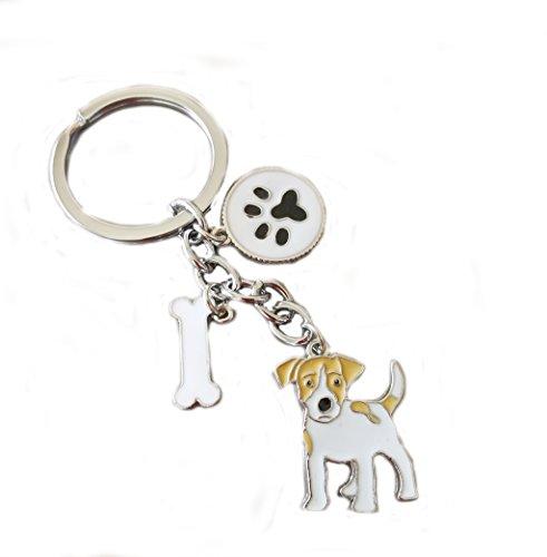 Dog Key-ring Keychain,10cm Cute Metal Dog Keychain Keyring Keyfob Bag Charm (Jack Russell)