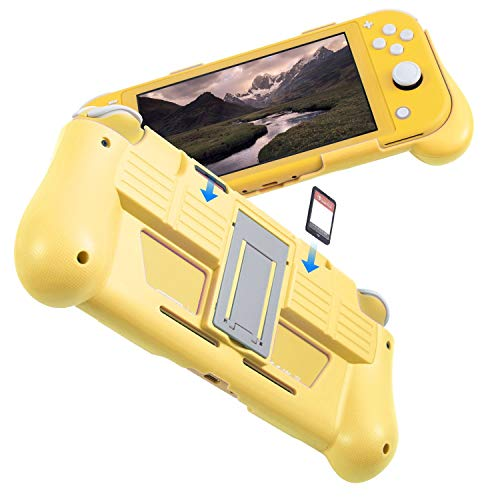 Protective Case Compatible with Nintendo Switch Lite 2019, Hard Grip Cover with 2 Game Card Slots Holder, Built in Stand, Shock-Absorption & Anti-Scratch Design, Yellow by Insten