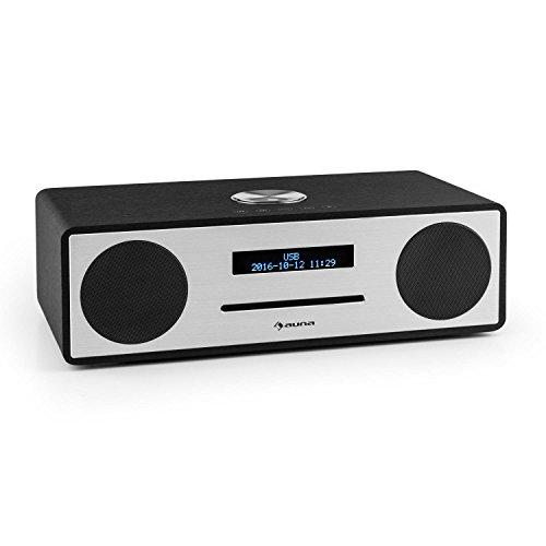 auna Stanford - Digitalradio, DAB+, UKW-Tuner, LED-Bildschirm, RDS-Funktion, Radiowecker, USB-Port, Slot-In CD-Player, Bluetooth 3.0, Wecker, Bassreflexgehäuse, Fernbedienung, schwarz
