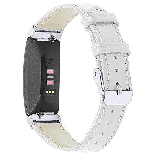 Jennyfly Correa para reloj Fitbit Inspire/Inspire HR, correa de repuesto de piel delgada con hebilla de metal ajustable de 5.5 a 8 pulgadas, compatible con Fitbit Inspire/Inspire HR - Blanco