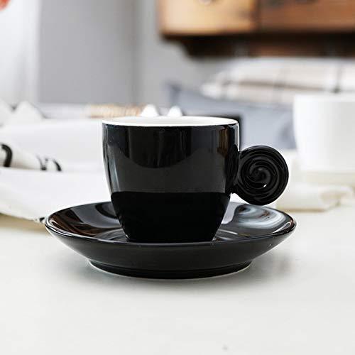 Yqs Kaffeetassen Set Einfacher stilvolle kleine Espresso-Schuss Cups Saucer Sets Frosted Geschmackvoll Schwarze Kaffeetasse mit Platte Kits (Color : Light Black)