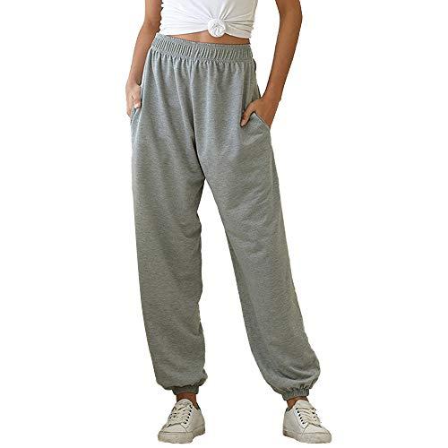 Vertvie - Pantalones de deporte para mujer, cintura elástica, con bolsillos, pantalones de chándal, pantalones largos, pantalones de fitness para exteriores gris L