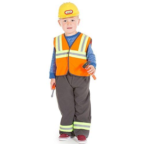 Construction Worker pour enfant ou Bricoleur Costume et chapeau pour Age 3–7 ans