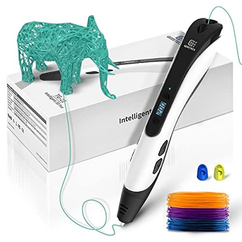 Geetech - Bolígrafo 3D de impresión 3D, pantalla LCD inteligente de 1,75 mm, compatible con filamento PLA/ABS, apto para niños y adultos, color negro