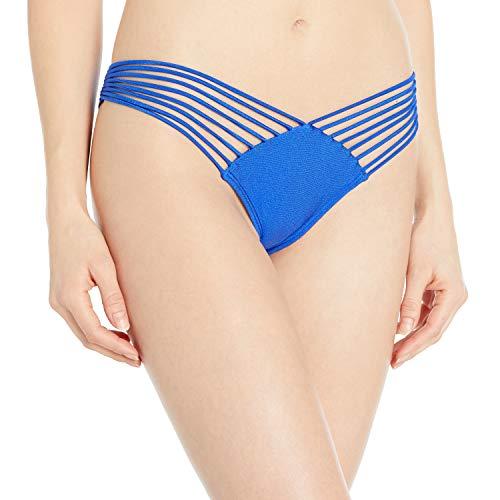 Luli Fama Damen Verano De Rumba Strappy Brazilian Ruched Back Bikini Bottom Bikinihose, Electric Blue, Large