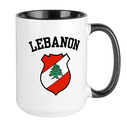 CafePress - Große Tasse mit Wappen des Libanons – Kaffeetasse, groß, 425 ml, weiße Kaffeetasse