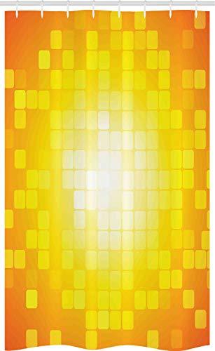 ABAKUHAUS Gelb Schmaler Duschvorhang, Retro-Pixel-Kunst-Quadrate, Badezimmer Deko Set aus Stoff mit Haken, 120 x 180 cm, Orange Gelb