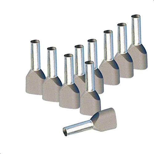 Aderendhülsen Twin von 0,5-16 mm² isoliert 10-1000 Stück Auswahl: (10 Stück, 4.0 mm² grau)