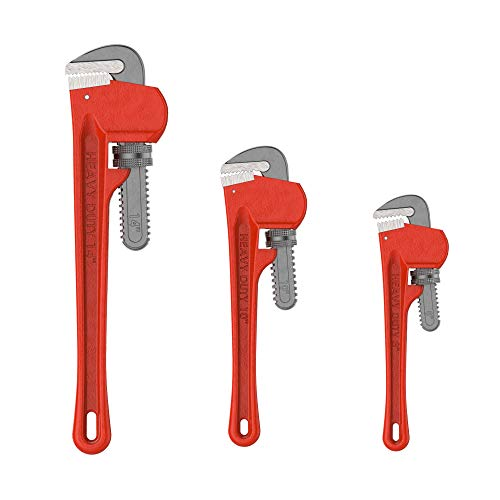 Plumbers Pipe Wrench, 3 Piece 14-Inch, 10-Inch, 8-Inch Set – Home Improvement Hand Wrenches with Adjustable Jaws and Storage Pouch by Stalwart (Renewed)