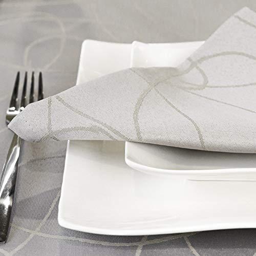 BGEUROPE - Tovaglia da Tavolo Color Argento con Trattamento antimacchia, 12 Napkins 18 x 18 (45 x 45 cm)
