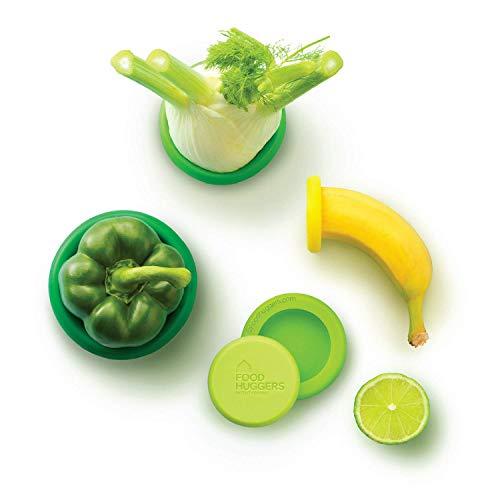 Pack de 5 conservadores verdes reutilizáveis da Food Huggers - Verde
