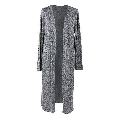 Hello Mello Carefree Threads Women's Long-Sleeve Flowing Heather Knit Cardigan Gray