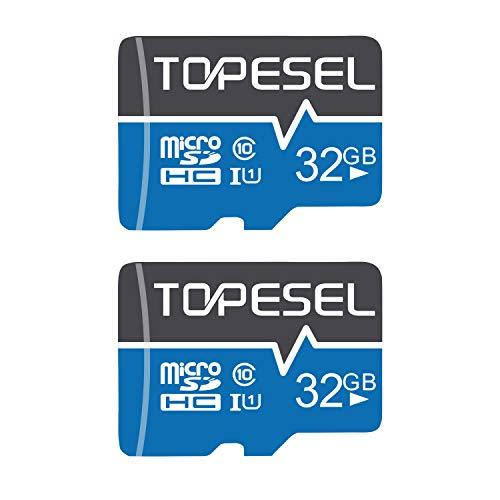 TOPESEL Scheda Micro SD da 32 GB, Scheda di Memoria MicroSDHC fino a 85 MB/s, UHS-I, classe 10, U1 (2 pezzi)