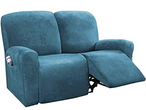 BANNAB Funda reclinable de Terciopelo, Funda de Spandex para sofá de 2 plazas para sofá reclinable, Protector para Muebles elásticos, Funda Protectora para sillón reclinable, Azul