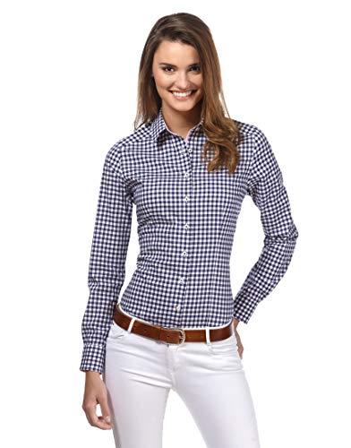Vincenzo Boretti Damen Bluse kariert leicht tailliert 100% Baumwolle bügelleicht Langarm Hemdbluse elegant festlich Kent-Kragen auch für Business und unter Pullover dunkelblau/weiß 36
