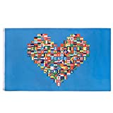 FLAGBURG Peace Love Flag Banner 5x8 FT, World in Heart Shaped Flag International Global Country Banner with Vivid Color (One Side), Double Stitched, Canvas Header,Brass Grommets for Peace Love