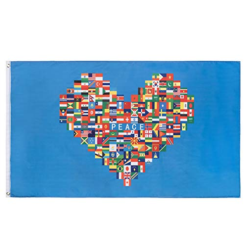FLAGBURG World Flag in Heart Banner 3x5 FT, Heart Shaped International Global Flags Country, with Vivid Color, Double Stitched, Canvas Header and Brass Grommets Valentine Flag for Outdoor Display