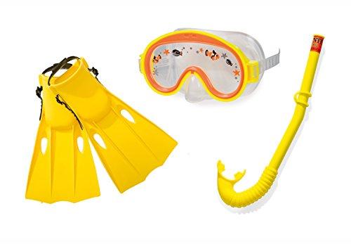 Intex Adventure View Tauchset -  Flossen, Schnorchel und Maske - Latexfrei - Gelb