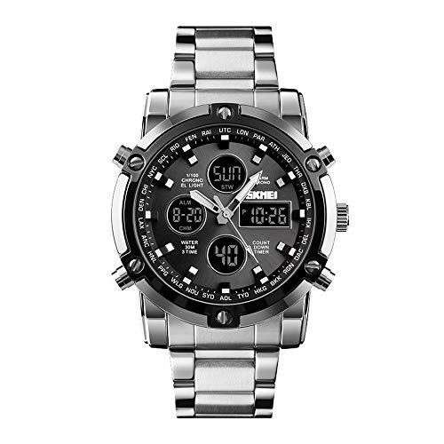 Relojes Hombre Analógico-Digital Cronómetro Relojes Calendario Alarma Relojes Deportivo LED Acero Inoxidable, Plata-Negro