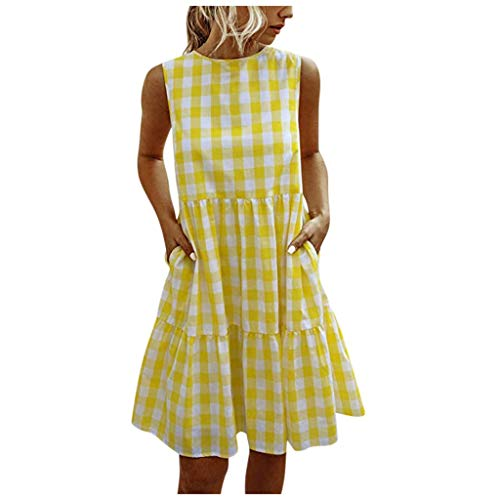 Why Should You Buy kaifongfu Women Sleeveless Plaid Dresses Summer Casual Beach Sundress A Line Mini...