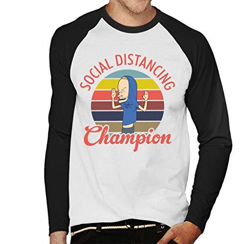 Beavis Social Distancing Champion Beavis and Butt Head Men's Baseball Long Sleeved T-Shirt