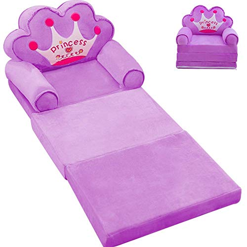 Children's Sofa, Foldable Lazy Recliner, Crown Children's Armchair,Children's Flip Open Sofa Bed, Infant Foldable Seat Feeding Chair, Removable And Washable (Color : Purple)
