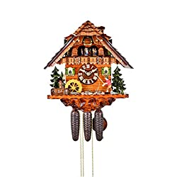 August Schwer Cuckoo Clock Black Forest House with Moving Fisherman and Moving Mill Wheel