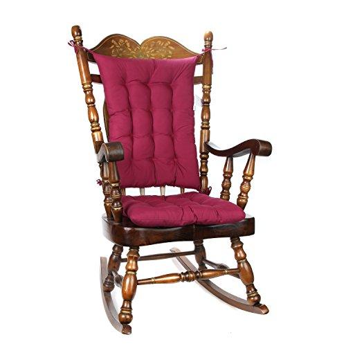 TRENTON Gifts 2 Piece Padded Rocking Chair Cushion Set - Burgundy