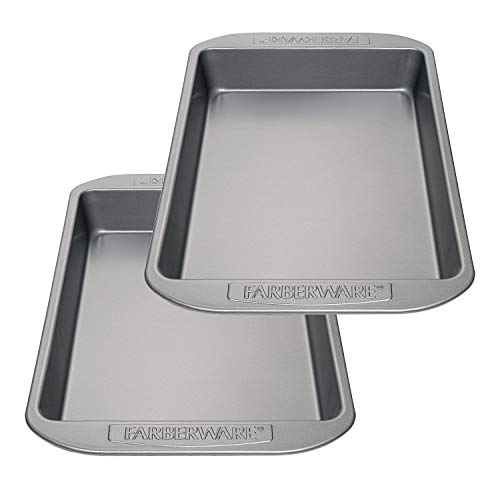 Farberware Nonstick Bakeware Baking Pan Set / Nonstick Cake Pan Set, Rectangle - 2 Piece, Gray Delaware