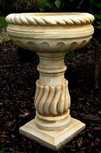 Casa Padrino Maceta Barroco con Pedestal Blanco/Beige Ø 40 x H. 65 cm - Magnífica Maceta Redonda...