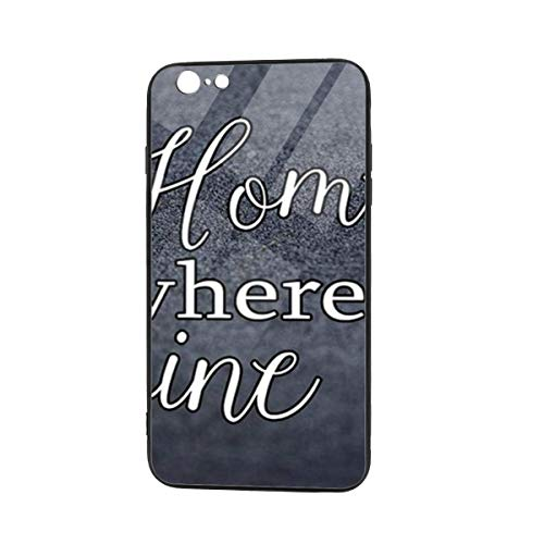 Home Is Where The Wine Is Black Cool Soft TPU Raised Edge Accurate Cutouts Thin Cover Case iPhone 6/6s Plus TPU Glass Phone Case