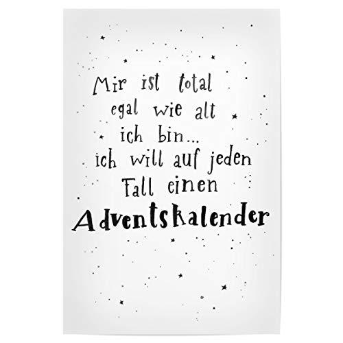 artboxONE Poster 30x20 cm Typografie Adventskalender - Bild Handlettering Weihnachten Aquarell